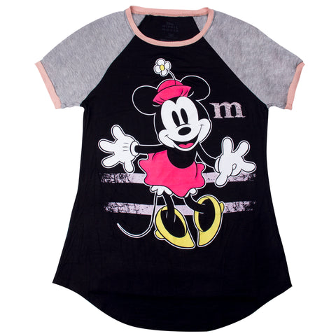 Disney Playera Manga Ranglan Minnie Mouse Negro Mujer