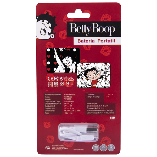 Batería Portátil Betty Boop color Negra