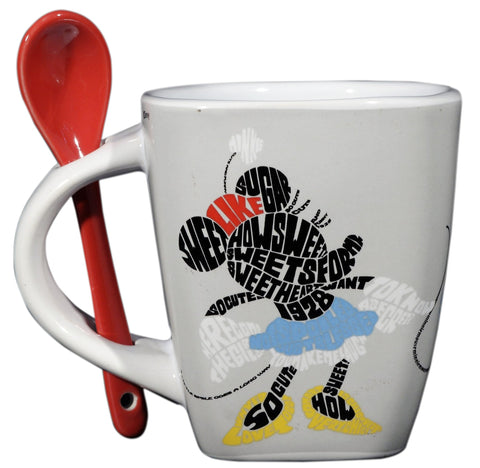 Disney Taza con cuchara Minnie Mouse blanca