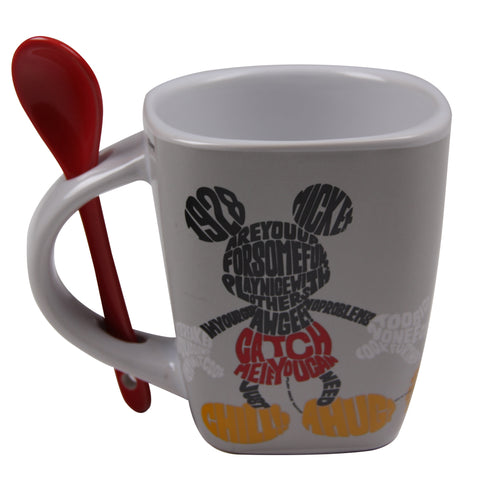 Disney Taza con cuchara Mickey Mouse blanca