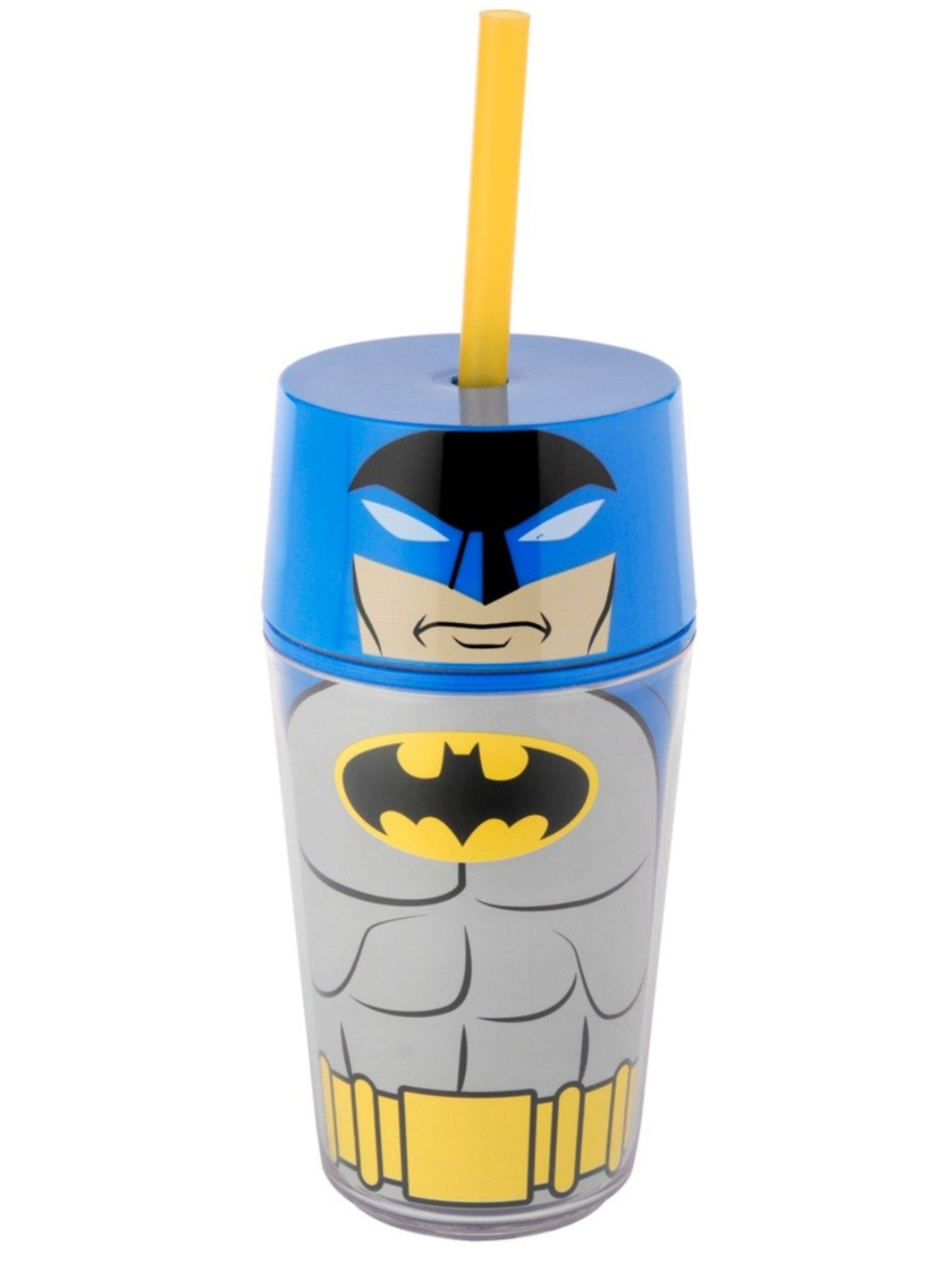 DC Comics Vaso Doble Pared con Tapa y Popote 414 ml Batman Azul