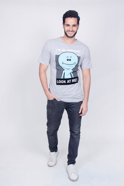 Rick and Morty Playera de I´m Mr. Meeseeks! Gris Hombre