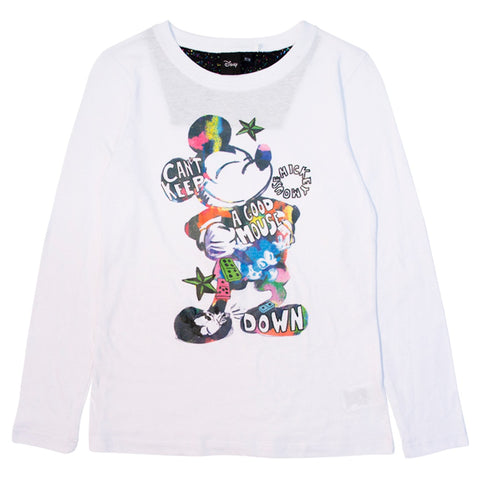 Disney Pijama de Mickey Mouse color Blanco-Negro Mujer