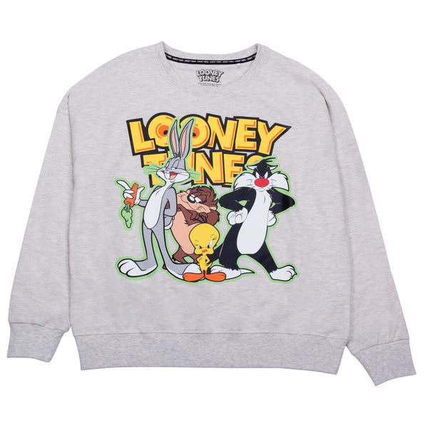 Looney Tunes Sudadera Bugs Bunny And Friends Blanco Jaspe Mujer