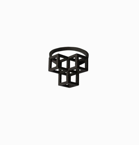 Triple Cube Ring - Black