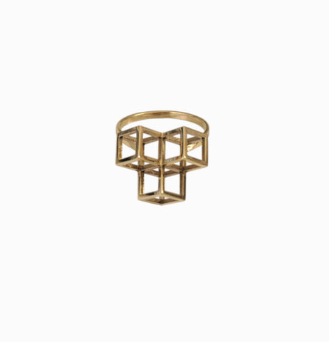 Triple Cube Ring - Brass