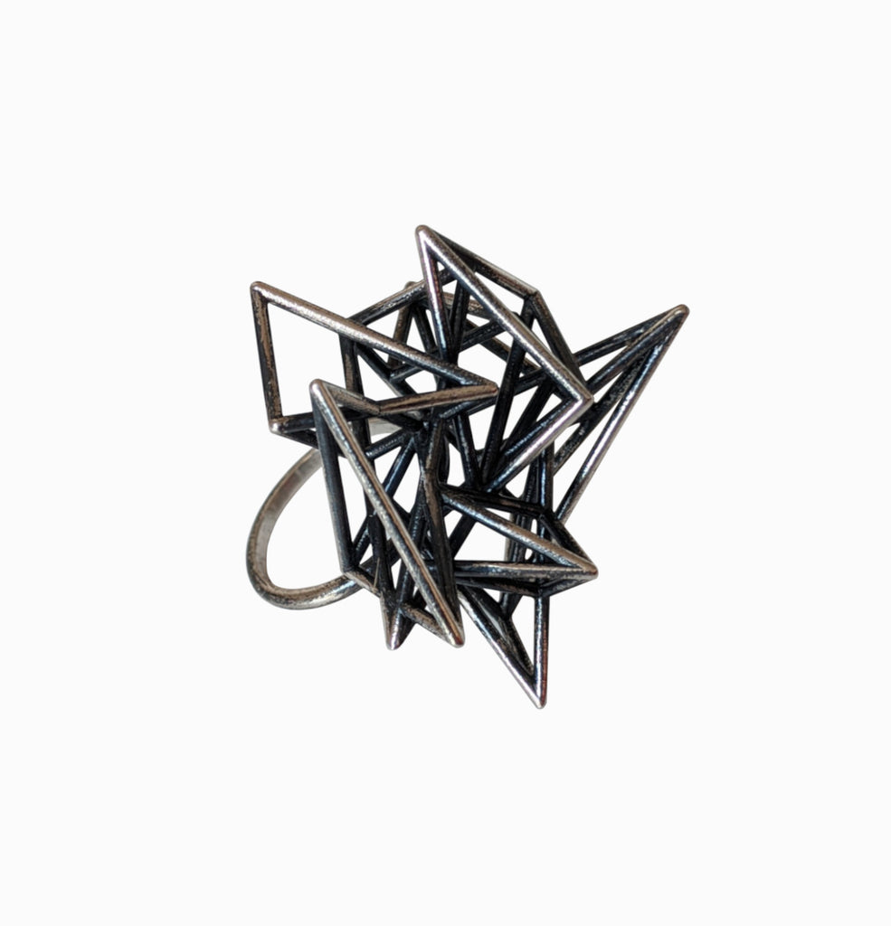 Pyramid Cage Ring - Silver