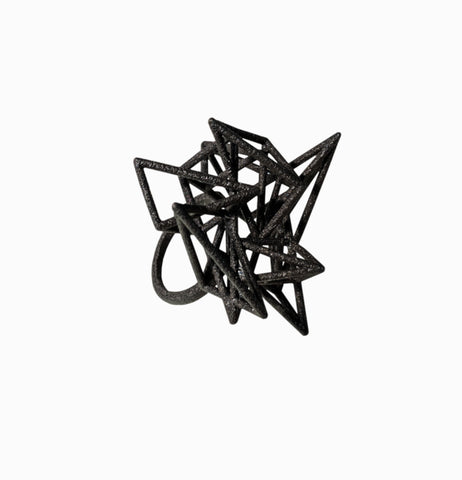Pyramid Cage Ring - Black