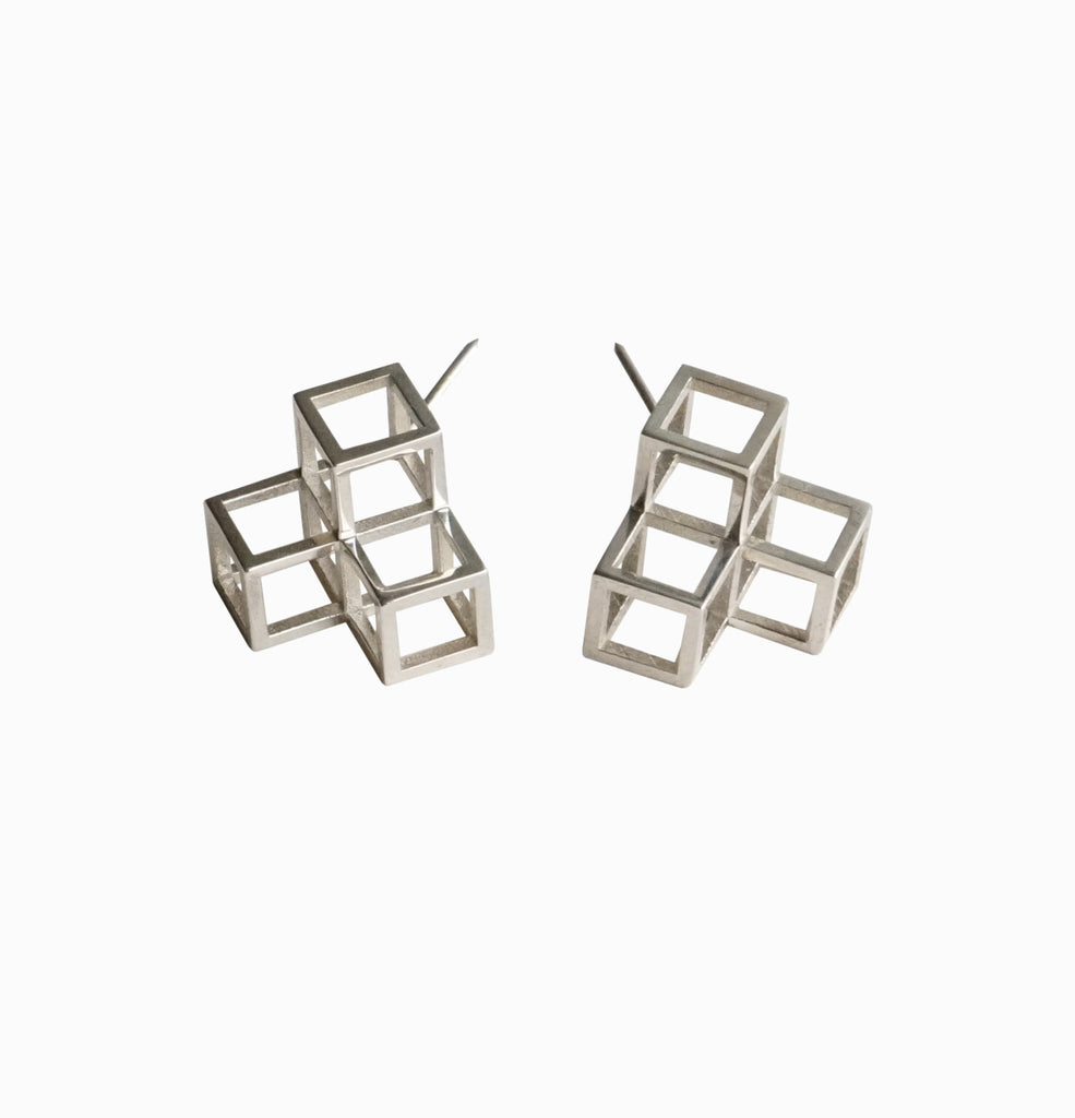 Triple Cube Earrings