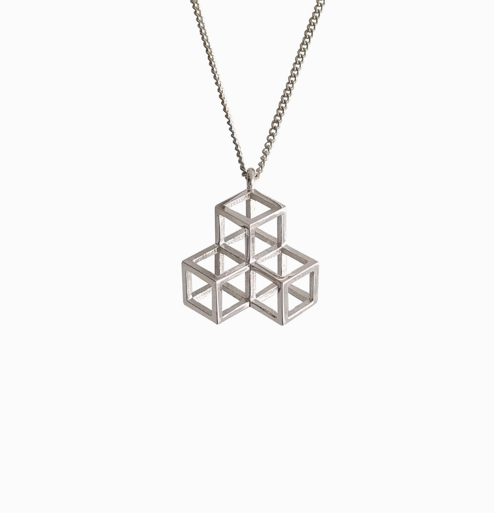 Triple Cube Necklace - Silver