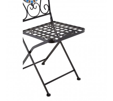 Amalfi Blue/Brown Mosaic Table Set with 2 Chairs – UK Furniture Heaven