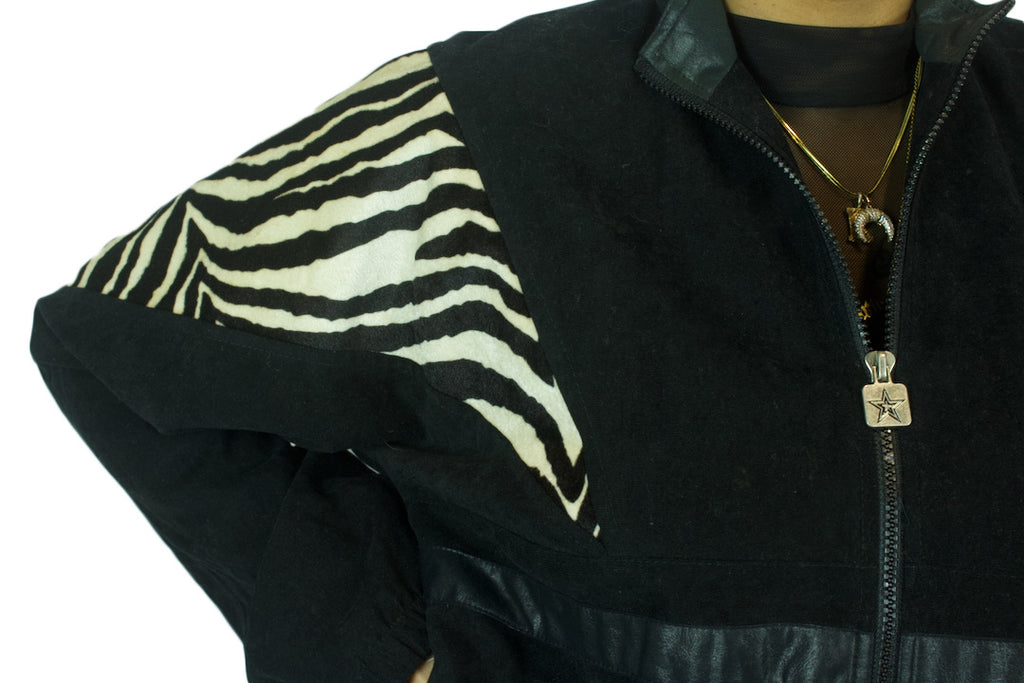 Black Zebra Colorblock Jacket