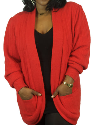Red Structured Fuzzy Cardigan