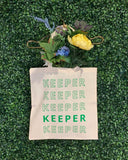 """KEEPER"" TOTE (GREEN/NATURAL)"