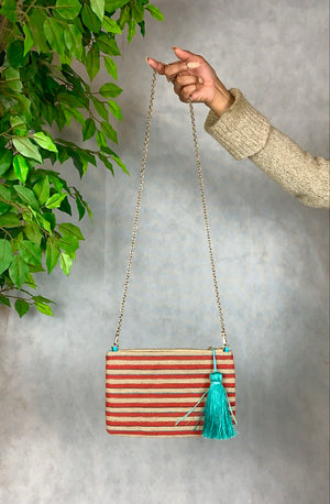 Tassel & Stripe Shoulder Bag