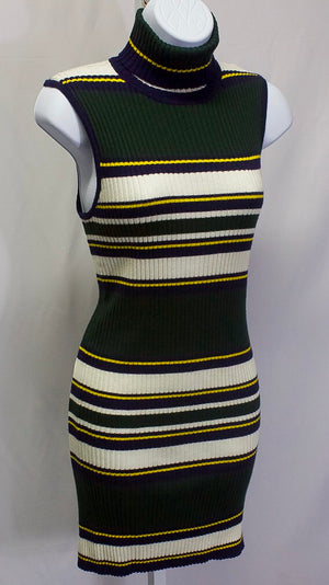 Striped Knit Turtleneck Dress