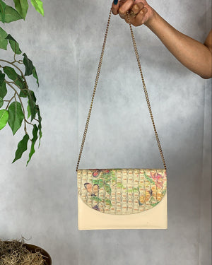Tan/Multi Printed Shoulder Bag