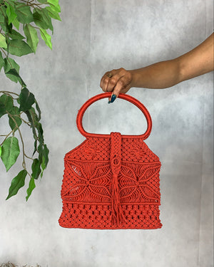 Red Macrame Knit Handbag