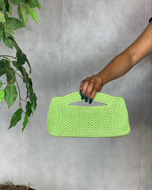 Lime Green Knit Handbag