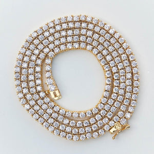 3mm Premium Tennis Chain - (Gold/White Gold/Rose Gold)