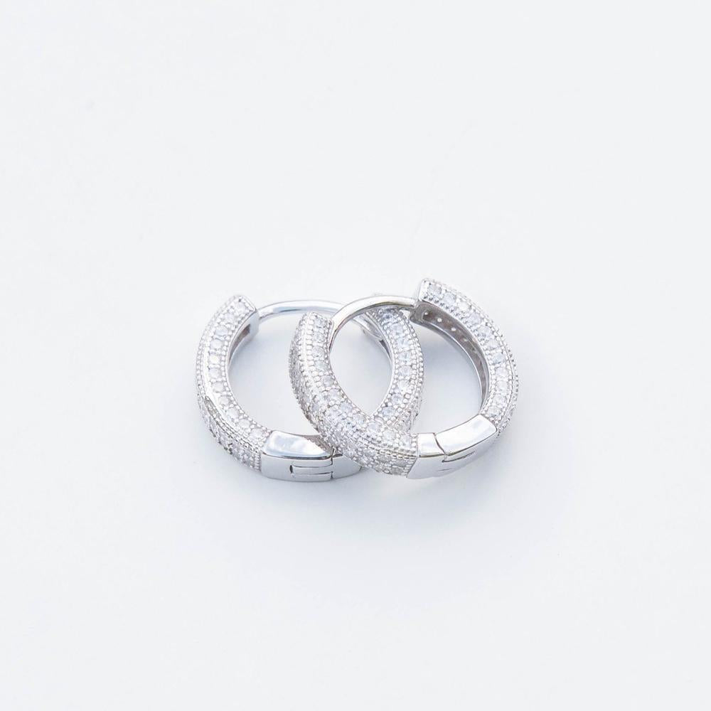 Iced Hoop Earring - (2 Color Options)