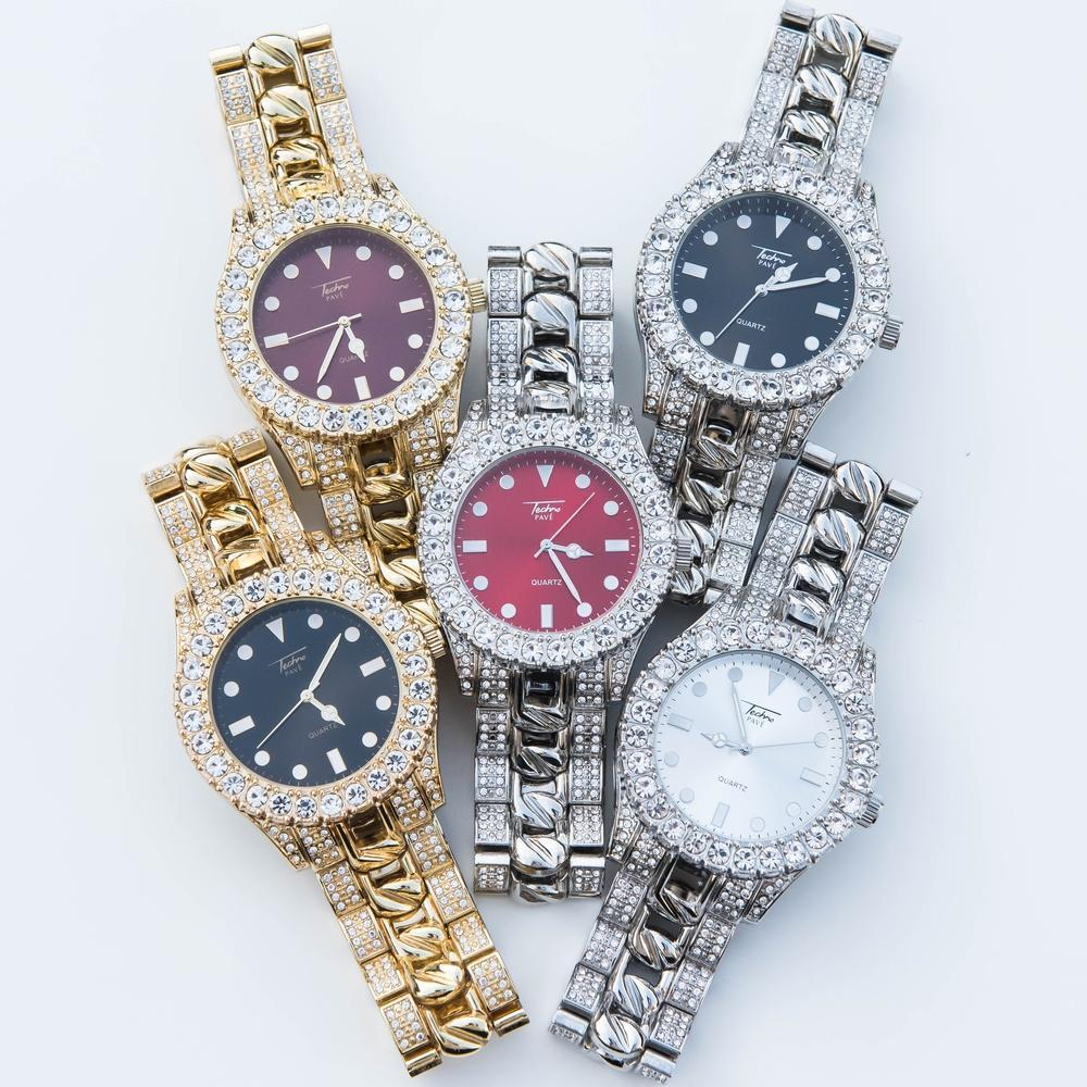 Iced Cuban Watch - (All Color Options)