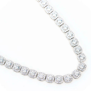 Premium Square Cluster Tennis Chain - (Gold/White Gold)