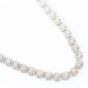 14K Premium Square Cluster Tennis Chain - (Gold/White Gold)