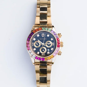 *CLEARANCE* Multi-Color Square Cut Watch - (Gold/White Gold)