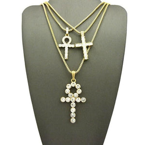 Iced Stone Ankh + Cross + Ankh Set *SALE*
