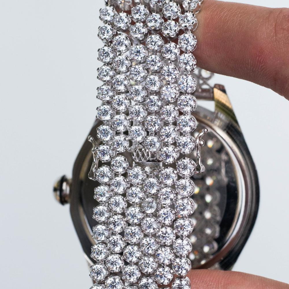 *CLEARANCE* Cluster Band Watch - (White Gold)