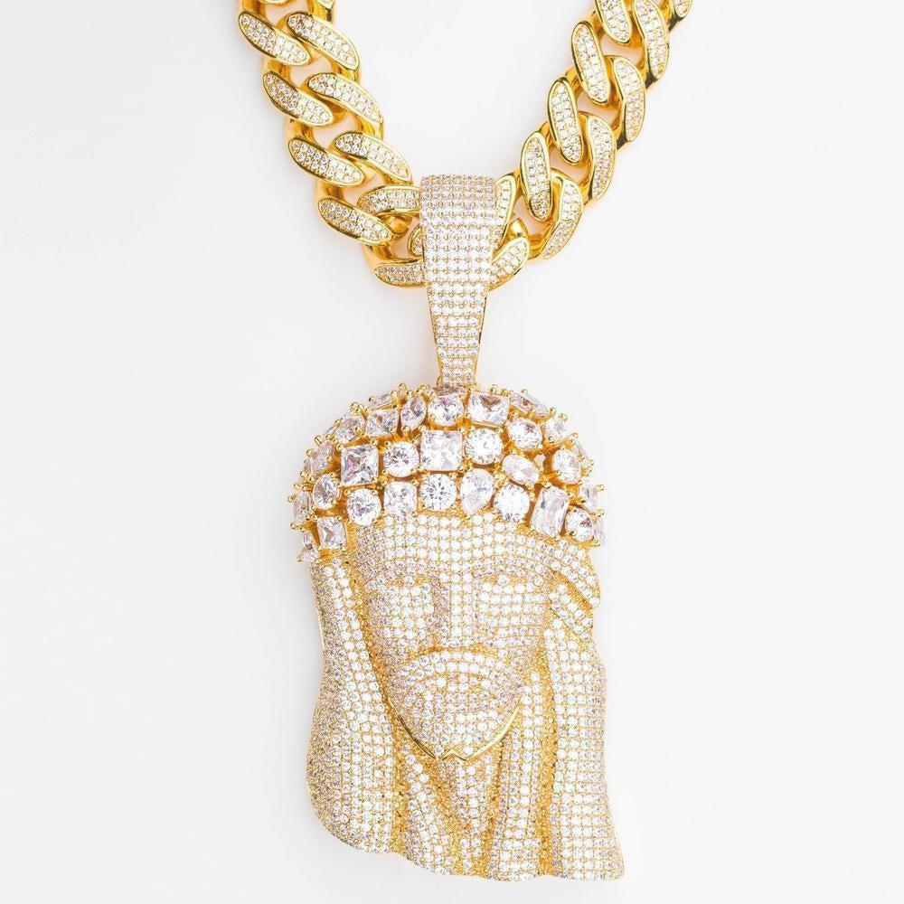 Cuban Bail Large Premium Multi Stone Jesus Piece - (Gold/White Gold)