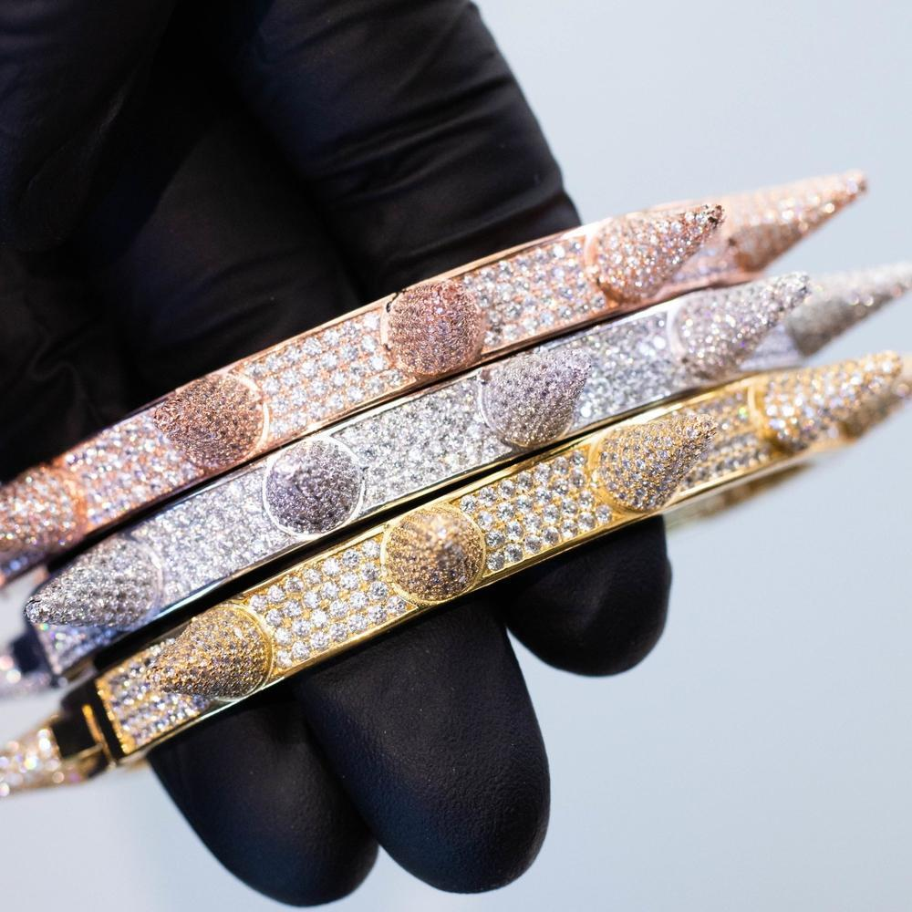 Custom Premium Sterling Silver Spike Bangle - (Gold/White Gold/Rose Gold)