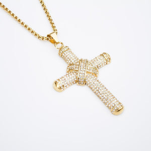 *CLEARANCE* Iced Large Cross - (Gold/White Gold)