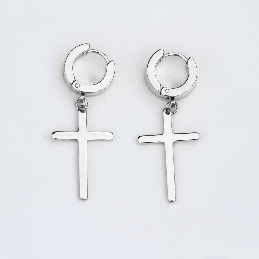 Hoop & Cross Earrings - (2 Color Options)