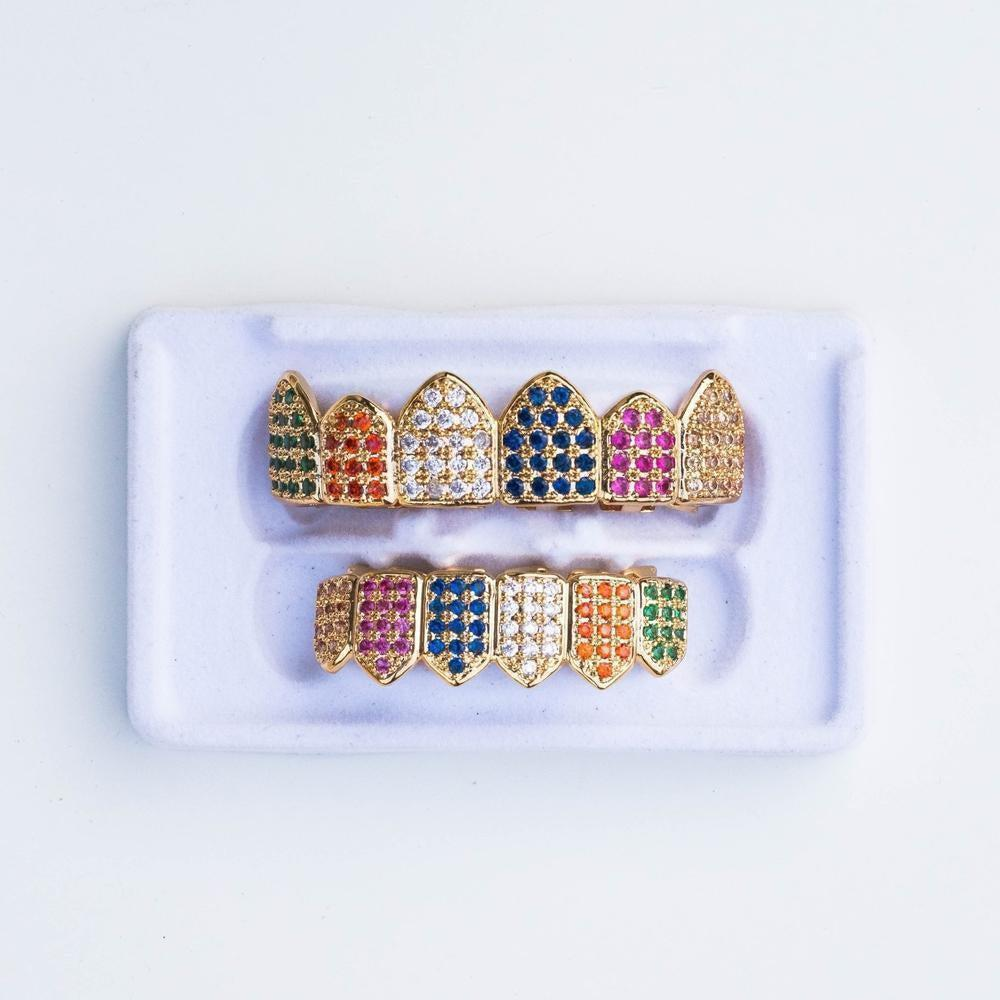 Fully Iced Multi-Color Grillz - (2 Color Options)