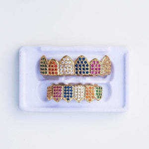 Fully Iced Multi-Color Grillz - (Gold/White Gold)