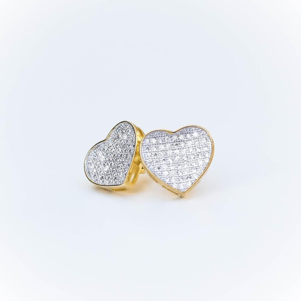 Iced Heart Earring - (Gold/White Gold)