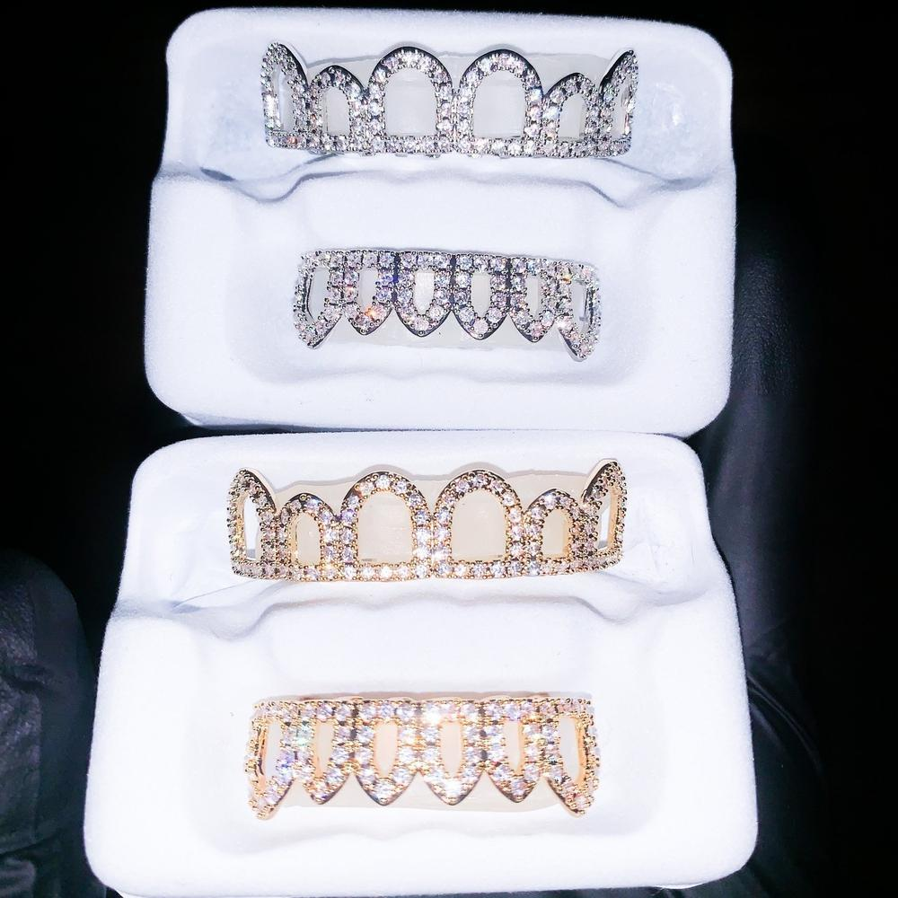 Iced Open Face Grillz - (Gold/White Gold)