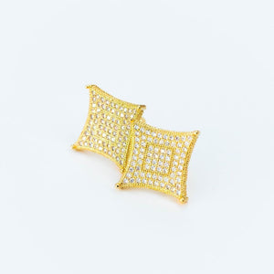Iced Square Kite Earring - (Gold/White Gold)