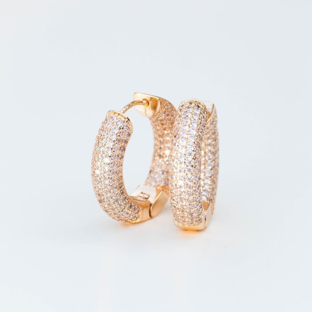 Multi Row Iced Hoop Earring - (Gold/White Gold)