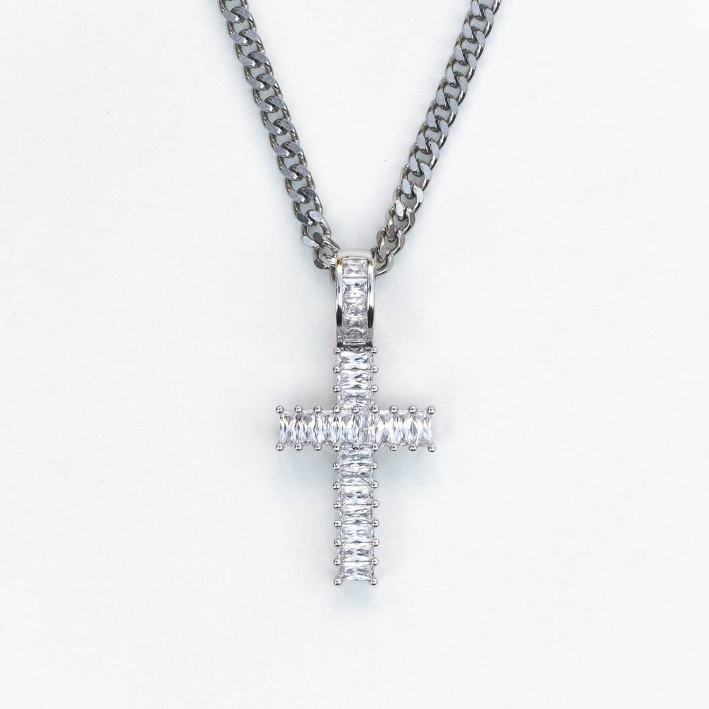 Premium Baguette Cross - Small - (Gold/White Gold/Rose Gold)