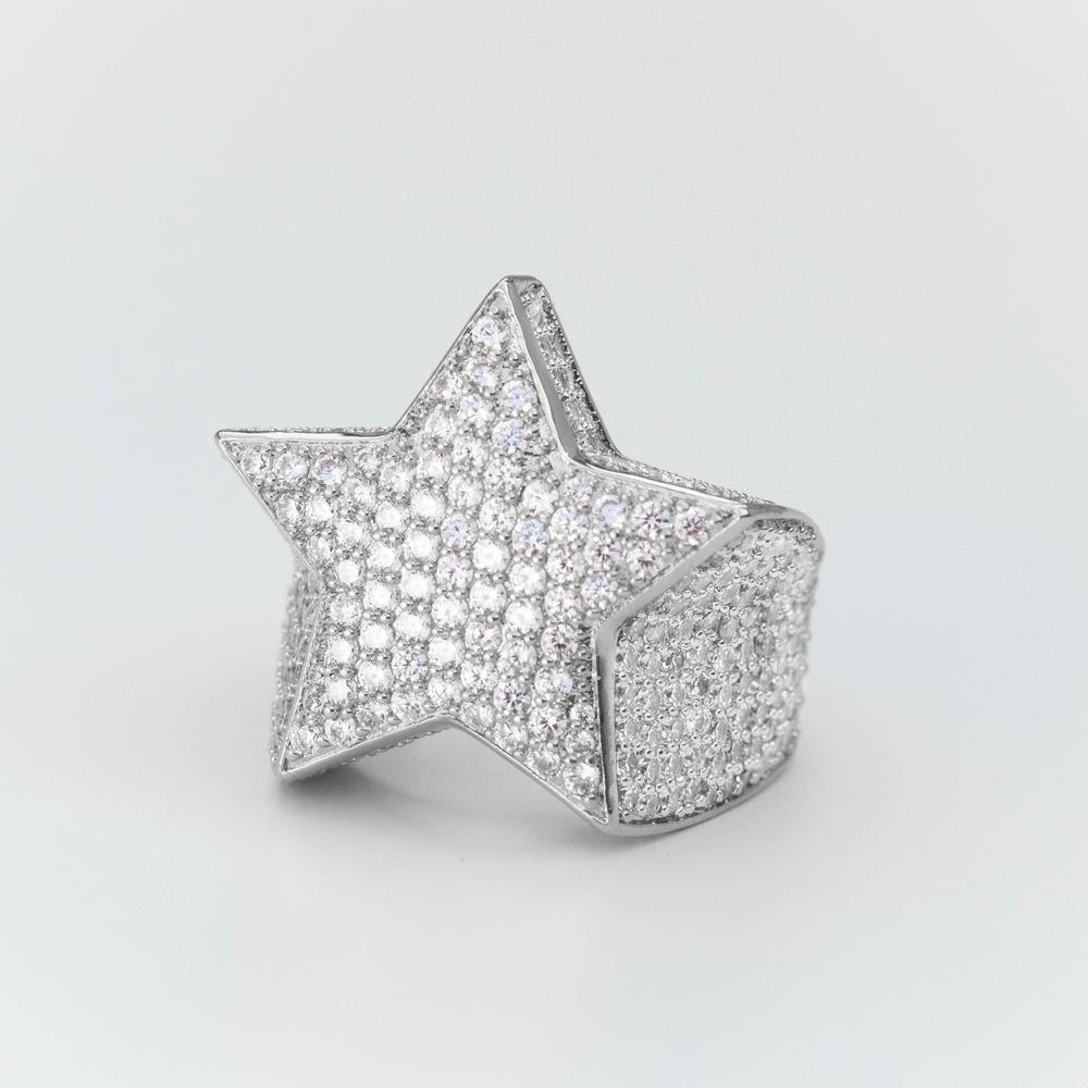 Premium Fully Iced Star Ring - (Gold/White Gold)