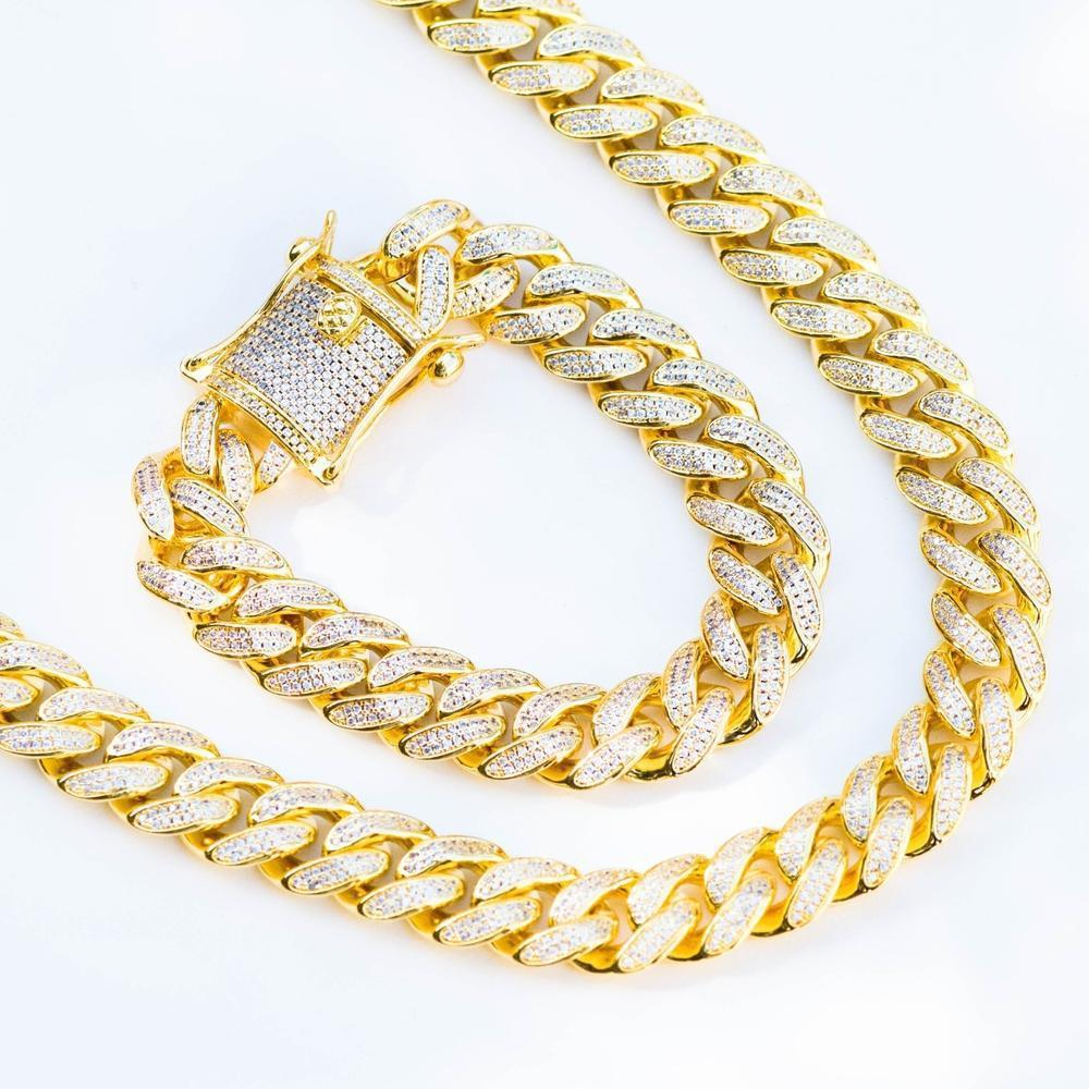 Premium Iced 12mm Cuban Chain & Bracelet Set - (Gold/White Gold/Rose Gold)