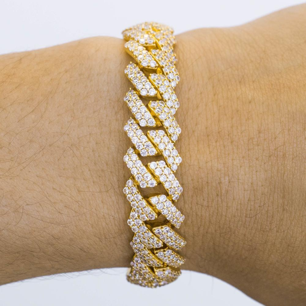 Premium Iced 12mm Straight Edge Cuban Bracelet - (3 Color Options)