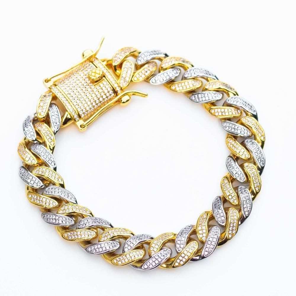Premium Iced 12mm Two-Tone 1x1 Cuban Bracelet - (Gold/Rose Gold)