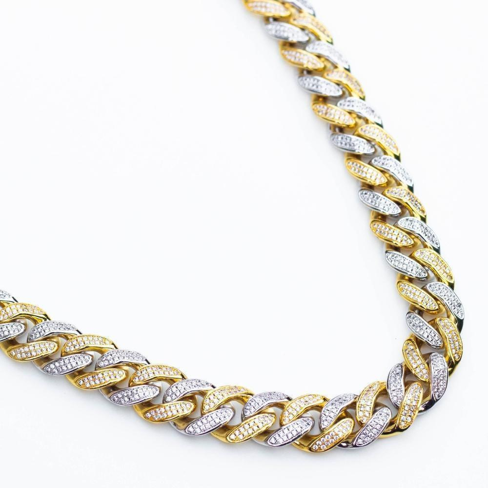 Premium Iced 12mm Two-Tone 1x1 Cuban Chain - (Gold/Rose Gold)