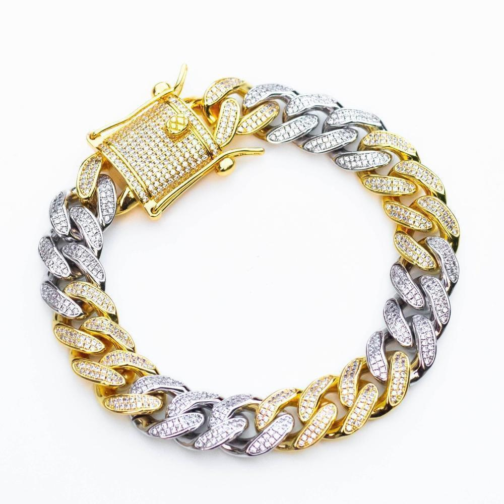 Premium Iced 12mm Two-Tone 3x3 Cuban Bracelet - (Gold/Rose Gold)