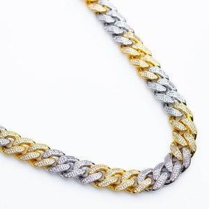 Premium Iced 12mm Two-Tone 3x3 Cuban Chain - (Gold/Rose Gold)