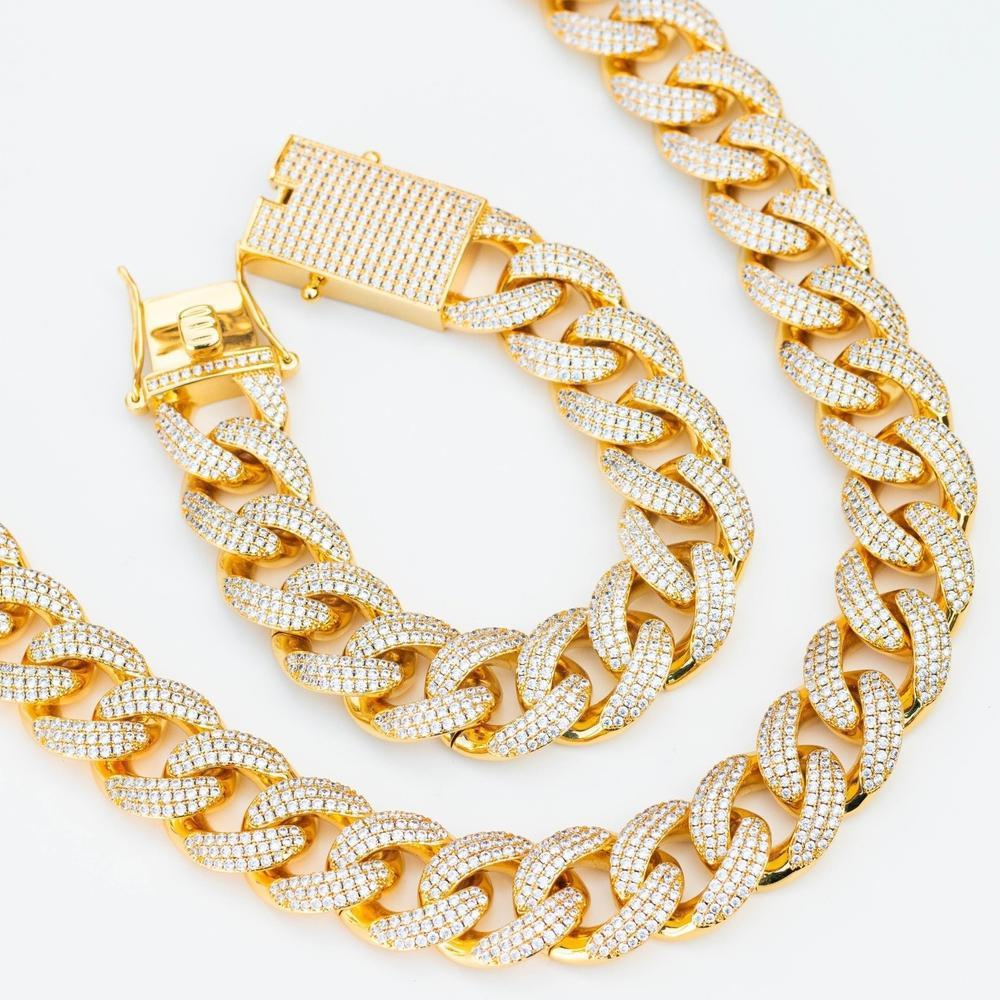 Premium Iced 18mm Cuban Chain & Bracelet Set - (Gold/White Gold/Rose Gold)